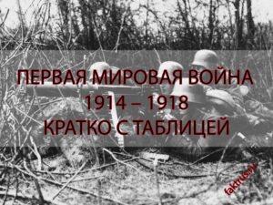 Таблица Первая мировая война